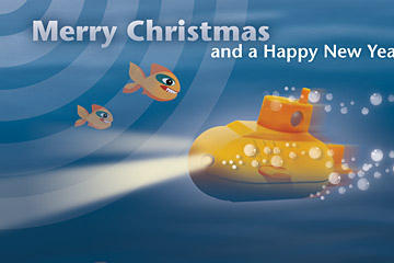 Weihnachtskarten mit vielen lustigen Fischen