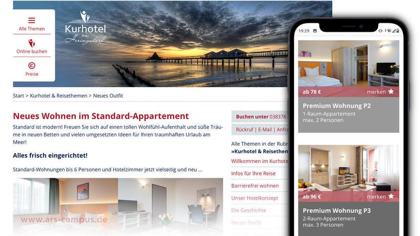 ars-campus, Webdesign für das Kurhotel in Heringsdorf
