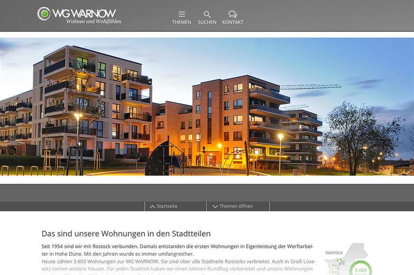 Webdesign, Startseite mit Stadtteilvideo, WG WARNOW, Rostock