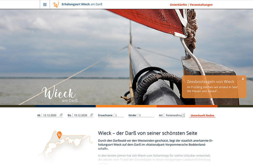 Wieck am Darß: Responsive Website