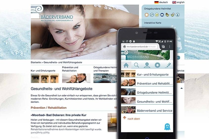 Bäderverband-Website: Desktop und Smartphone (Web-App)