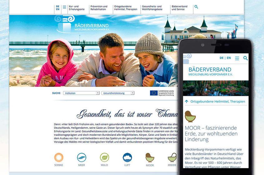 Webdesign für den Bäderverband M-V, responsive Website