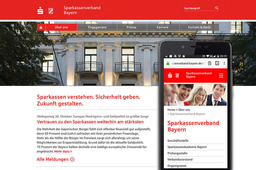SVB Homepage auf Desktop und Smartphone