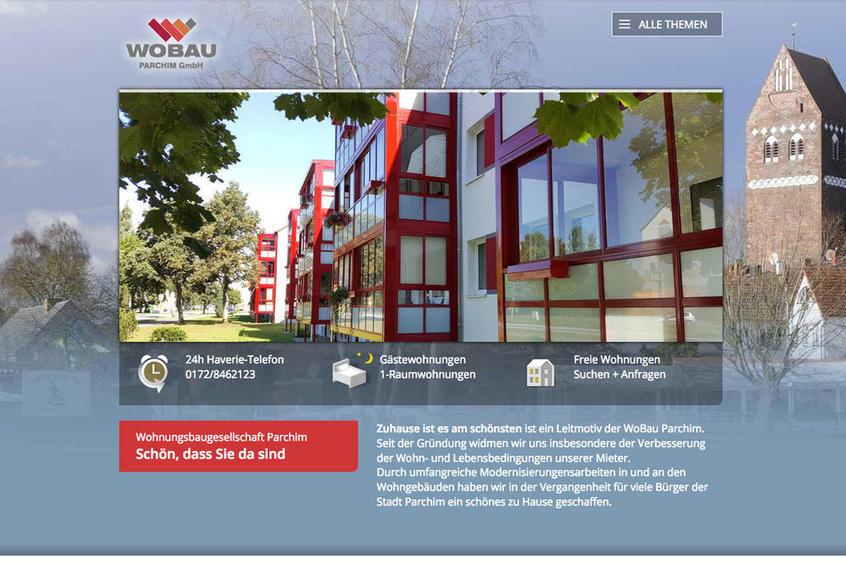 Die Startseite der responsiven Website der WOBAU in Parchim.